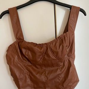 Shein brown faux leather crop top